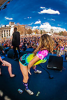 Girls from the audience twerking during B.o.B (Bobby Ray Simmons Jr.) performance at the 420 Cannabis Culture Music Festival, Civic Center Park, Downtown Denver, Colorado USA. This was the first 4/20 celebration since recreational pot became legal in Colorado January 1, 2014. A crowd of up to 80,000 people attended the event.