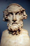 Homer (8th century BC) Greek epic poet credited with authorship of the 'Iliad' and the 'Odyssey'. Roman copy of lost Greek bust of 2nd century BC.