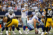 Dallas Cowboys quarterback Tony Romo (9) calls out a play to his team against the Pittsburgh Steelers at Cowboys Stadium in Arlington, Texas, on December 16, 2012.  (Stan Olszewski/The Dallas Morning News)