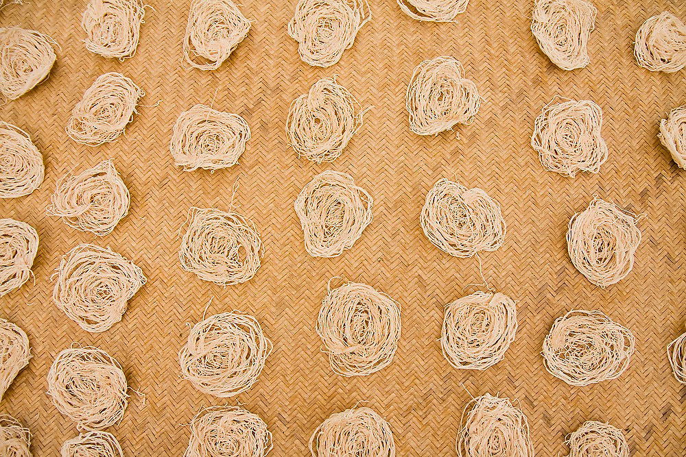 Handmade noodles dry on a mat at a home in Chhomrong, along the Annapurna Sanctuary Trek, Himalaya Mountains, Nepal.
