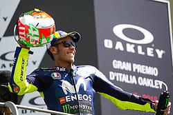 June 3, 2018 - Mugello, FI, Italy - Valentino Rossi of Movistar Yamaha MotoGP celebrate the third place of the MotoGP Oakley Grand Prix of Italy, at International  Circuit of Mugello, on May 31, 2018 in Mugello, Italy  (Credit Image: © Danilo Di Giovanni/NurPhoto via ZUMA Press)