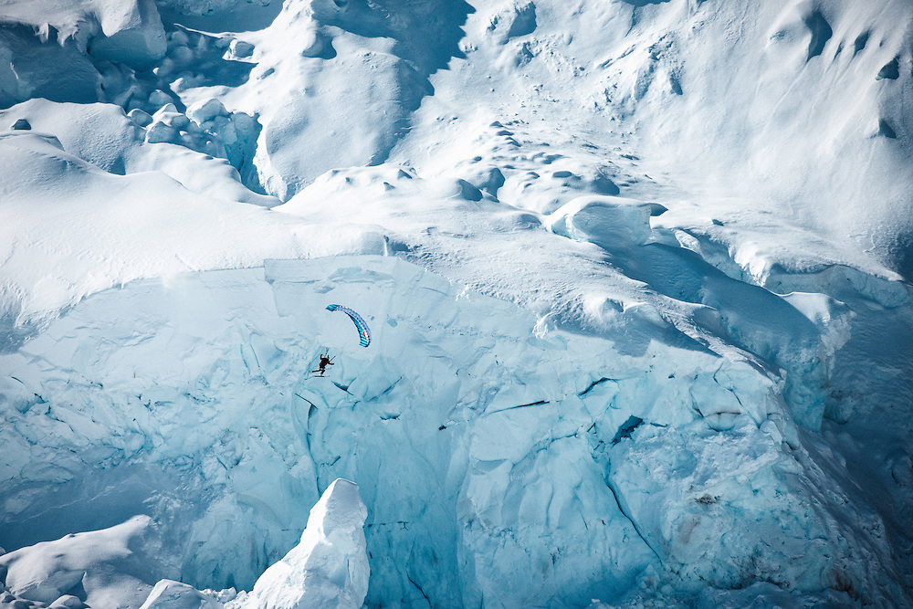 Filippo Fabbi jumps off a large glacier while filming for the Unrideables in the Tordrillo Mountains near Anchorage, Alaska on April 24th, 2014.