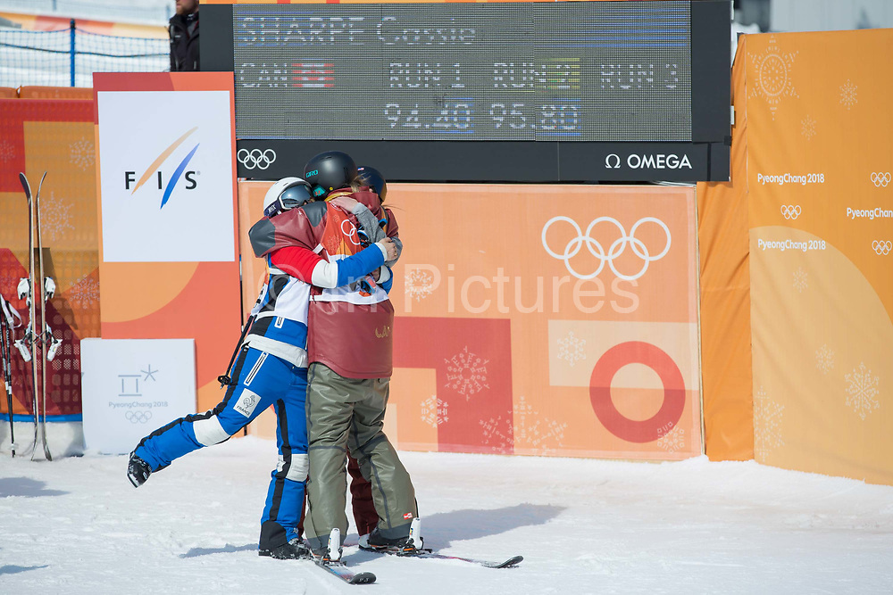 Cassie Sharpe, Canada, takes gold and celebrates with Marie Martinod, France, SILVER and Brita Sigourney, USA, BRONZE following the womens skiing halfpipe finals at the Pyeongchang 2018 Winter Olympics on February 20th 2018, at the Phoenix Snow Park in Pyeongchang-gun, South Korea