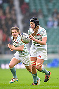 Twickenham, Surrey. UK. Cambridge N0. 8 , Emily PRATT, with the ball, supported by Kate MARKS, during the 2017 Women's Varsity Rugby Match, Oxford vs Cambridge Universities. RFU Stadium, Twickenham. Surrey, England.<br /> <br /> Thursday  07.12.17  <br /> <br /> [Mandatory Credit Peter SPURRIER/Intersport Images]