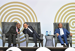 Former US president Barack Obama shares a moment with president Cyril Ramaphosa,during the Nelson Mandela annual lecture at Wanderers Stadium, businessman Patrice Motsepe, Gauteng.<br />Picture: Itumeleng English/African News Agency (ANA)