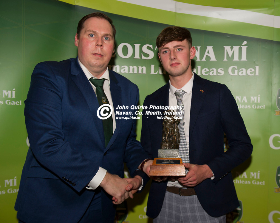 06-12-19. Meath GAA Annual Sponsors Night and Awards Presentation 2019 at the Castle Arch Hotel, Trim.<br /> Anthony Monaghan (Left, Chairman, Meath GAA Hurling Promotion & Development Committee presenting the Young Hurler of the Year award to Callum O'Sullivan, Clann na nGael.<br /> Photo: John Quirke / www.quirke.ie<br /> ©John Quirke Photography, Unit 17, Blackcastle Shopping Cte. Navan. Co. Meath. 046-9079044 / 087-2579454.