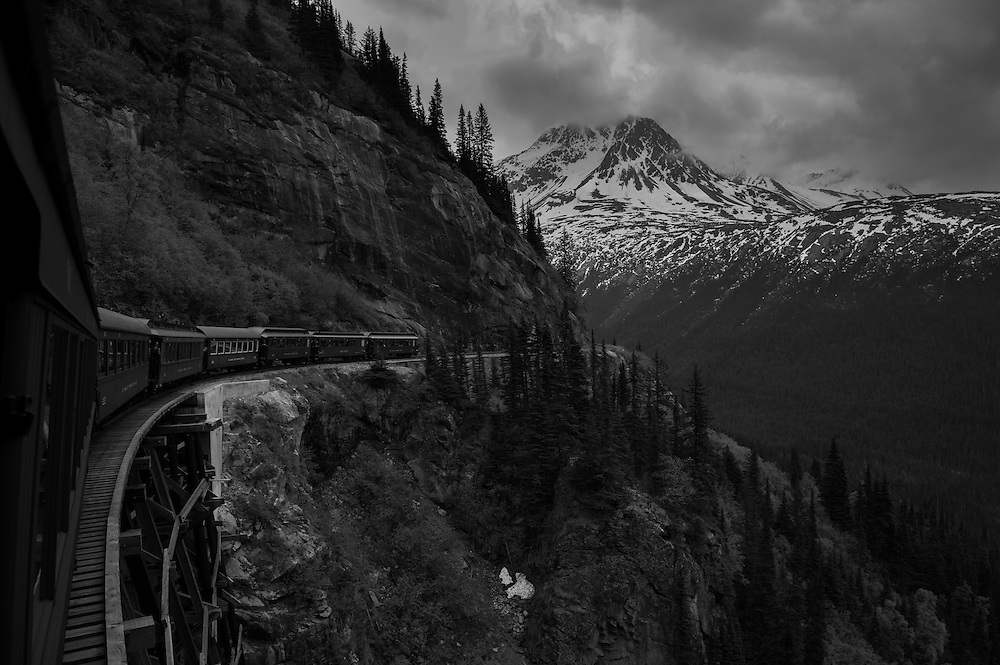 Aboard the historic White Pass and Yukon railroad train car.