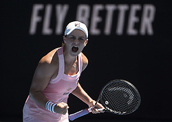 MELBOURNE, Jan. 20, 2019  Ashleigh Barty of Australia competes during the women's 4th round match between Maria Sharapova of Russia and Ashleigh Barty of Australia at the 2019 Australian Open in Melbourne, Australia, Jan. 20, 2019. (Credit Image: © Lui Siu Wai/Xinhua via ZUMA Wire)