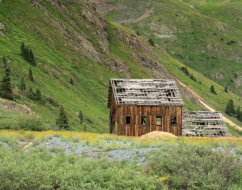 Old mining structure along California Gulch, San Juan Mountains, Colorado.