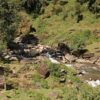 A river as seen from the trail in Nepal.
