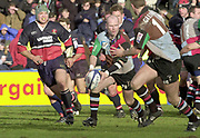 Twickenham. Surrey, UK., 23 February 2002, Zurich Premiership Rugby,  The Stoop Memorial Ground,   Paul Burke, looking to set up an attack at the Gloucester line, during the, NEC Harlequins vs Gloucester Rugby,<br /> [Mandatory Credit: Peter Spurrier/Intersport Images],