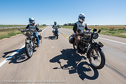 Steve Rinker in the lead with his twin sons Jared and Justin behind, each riding their own 1916 Indians through the eastern plains of Colorado during the Motorcycle Cannonball Race of the Century. Stage-9 Dodge City, KS to Pueblo, CO. USA. Monday September 19, 2016. Photography ©2016 Michael Lichter