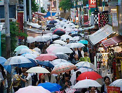 Many umbrellas in the rain in busy trendy Takeshita Street in Harajuku Tokyo
