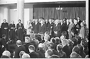 Inaugeration of President Hillery..1983.03.12.1983.12.03.1983.3rd December 1983...Dignitaries from home and abroad attended the Inaugeration of Patrick Hillery, as president of Ireland. the ceremony took place at St Patrick's Hall,Dublin Castle...Photograph as the assembled audience stands for a final prayed.