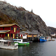 Homes and boats line the water in Quidi Vidi, St. John's, Newfoundland and Labrador, Canada, on Thursday, June 6, 2019. THE BLADE/KURT STEISS <br /> MAG NewfoundlandXX