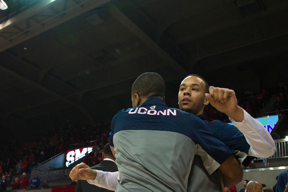 DALLAS, TX - JANUARY 4: Shabazz Napier #13 of the Connecticut Huskies is introduced before tipoff against the SMU Mustangs on January 4, 2014 at Moody Coliseum in Dallas, Texas.  (Photo by Cooper Neill) *** Local Caption *** Shabazz Napier