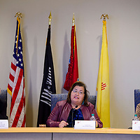 Gallup mayor Jackie McKinney, left, sits with county commission chairwoman Carol Bowman Muskett and county commissioner Genevieve Jackson during a joint work session at the McKinley County Courthouse in Gallup Tuesday.