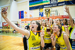 Eva Lisec of Athlete Celje and other players of Athlete Celje celebrate after winning during basketball match between ZKK Athlete Celje and ZKK Triglav in Finals of 1. SKL for Women 2014/15, on April 20, 2015 in Gimnazija Celje Center, Celje, Slovenia. ZKK Athlete Celje became Slovenian National Champion 2015. Photo by Vid Ponikvar / Sportida