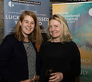 """Zoe Quinn and Jen Coppinger at the World Premiere of the """"Luck Just Kissed you Hello""""by Amy Conroy in the Mick Lally theatre (Druid) on the opening night of Galway international Arts Festival. Photo:andrew Downes xposure"""