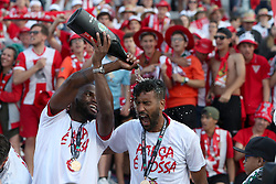 May 20, 2018 - Lisbon, Portugal - Aves' forward Mama Balde (L) and Fernando Tissone  celebrate after winning the Portugal Cup Final football match CD Aves vs Sporting CP at the Jamor stadium in Oeiras, outskirts of Lisbon, on May 20, 2015. (Aves won 2-1) (Credit Image: © Pedro Fiuza/NurPhoto via ZUMA Press)