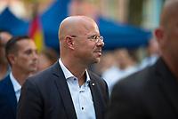 DEU, Deutschland, Germany, Königs Wusterhausen, 30.08.2019: Andreas Kalbitz, Landes- und Fraktionsvorsitzender der AfD in Brandenburg, bei einer Wahlkampfveranstaltung der Partei Alternative für Deutschland (AfD).
