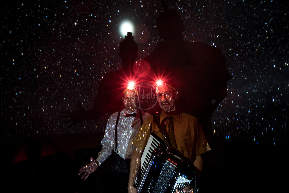 """Theatre in West of Lenin Planetarium. Photo by Alabastro Photography. """"Starball: A Dreamy Musical Astronomy Show"""" at West of Lenin. Actors: John Kaufmann and Dan Dennis. August 2017"""