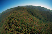Aerial View: Wide expanse of Shenandoah Mountains, Virginia (part of the Appalachian chain). National Park Land & Skyline Drive (road in lower right) are in this view Looking South East along the mountain ridge.