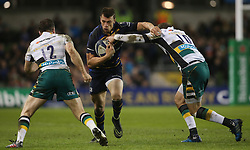 Leinster's Zane Kirchner in action against Northampton Saints Stephen Myler during the European Champions Cup, pool four match at The RDS Arena, Dublin.