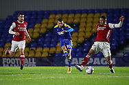 AFC Wimbledon attacker Adam Roscrow (10) shoots at goal during the EFL Trophy match between AFC Wimbledon and U21 Arsenal at Plough Lane, London, United Kingdom on 8 December 2020.