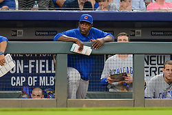 May 15, 2018 - Atlanta, GA, U.S. - ATLANTA, GA Ð MAY 15:  Cubs hitting coach Chili Davis looks on from the dugout during the game between Atlanta and Chicago on May 15th, 2018 at SunTrust Park in Atlanta, GA. The Chicago Cubs defeated the Atlanta Braves by a score of 3 -2.  (Photo by Rich von Biberstein/Icon Sportswire) (Credit Image: © Rich Von Biberstein/Icon SMI via ZUMA Press)