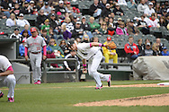 CHICAGO - MAY 10:  Gordon Beckham #15 of the Chicago White Sox fields against the Cincinnati Red on May 10, 2015 at U.S. Cellular Field in Chicago, Illinois.  (Photo by Ron Vesely)   Subject:   Gordon Beckham