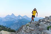 Anton Krupicka trail running neaer Grand Targhee in the Tetons, Wy