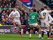Twickenham, England, 23rd February, Guinness Six Nations, International Rugby, Jonny MAY, with some fancy footwork, during then England vs Ireland, RFU Stadium, United Kingdom, [Mandatory Credit; Peter SPURRIER/Intersport Images]