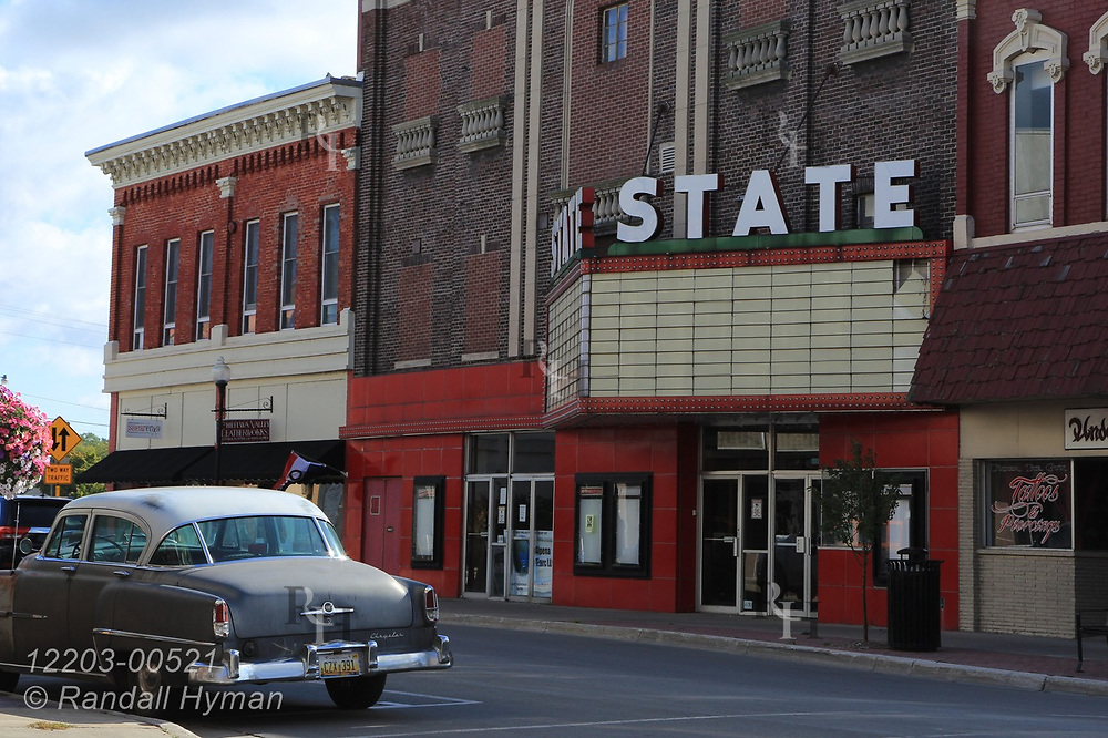 Historic State movie theater, or cinema, in downtown Alpena, Michigan.