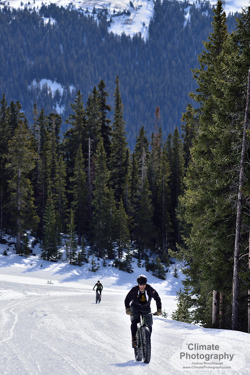 """2016 - The Gathering - Fat Bike Rally, in Buena Vista, CO. Events over the February 26-29 weekend included night rides, Cottonwood Pass tour, bike-toss, """"foot-down,"""" limbo, the slowest race over the shortest distance, and polo.  One of the side-benefits of the participant packet was a free pass to the Mount Princeton Hot Springs Resort."""