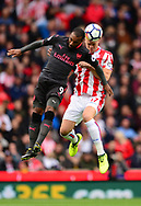 Ryan Shawcross of Stoke city (r) battles for the ball with Alexandre Lacazette of Arsenal. Premier league match, Stoke City v Arsenal at the Bet365 Stadium in Stoke on Trent, Staffs on Saturday 19th August 2017.<br /> pic by Bradley Collyer, Andrew Orchard sports photography.