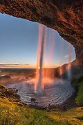 Seljalandsfoss in sunset.