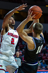 NORMAL, IL - October 23: Turner Scott takes a fader against Zach Copeland during a college basketball game between the ISU Redbirds and the Truman State Bulldogs on October 23 2019 at Redbird Arena in Normal, IL. (Photo by Alan Look)
