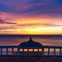 sunrise over scarborough spa, sunrise, colourful sky,