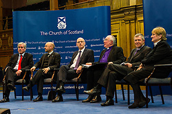 Pictured: Iain Gray, Patrick Harvey, John Swinney, John Chalmers, Moderator of the Church of Scotland, Annabel Goldie and Willie Rennie<br /> <br /> The People Politics Hustings,  organised by the Church of Scotland, allowed voters to question SNP deputy John Swinney, Scottish Labour leader Kezia Dugdale, Scottish Liberal Democrat leader Willie Rennie, Scottish Greens co-convener Patrick Harvie and former Scottish Conservatives leader Annabel Goldie ahead of the Scottish Elections. Before the politicians had a chance to speak they had a chance to listen to five speakers with different viewpoints on how Scotland has supported them in the past and how it should support them in the future..<br /> Ger Harley   EEm 4 April 2016