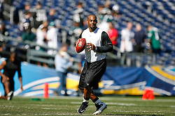 Philadelphia Eagles quarterback Donovan McNabb #5 warms up before the NFL game between the Philadelphia Eagles and the San Diego Chargers on November 15th 2009. At Qualcomm Stadium in San Diego, California. (Photo By Brian Garfinkel)