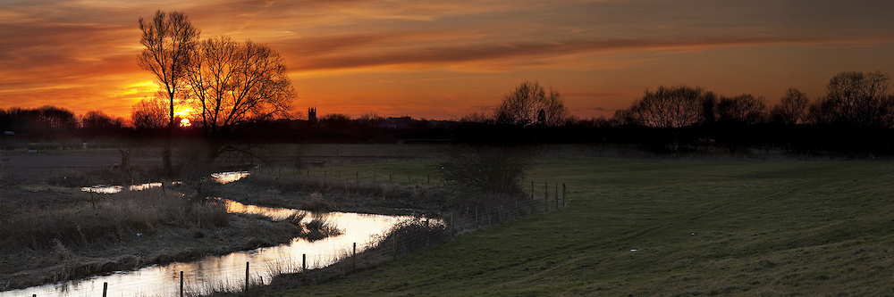 Sunset over Cricklade and the Upper Thames, Wiltshire, Uk