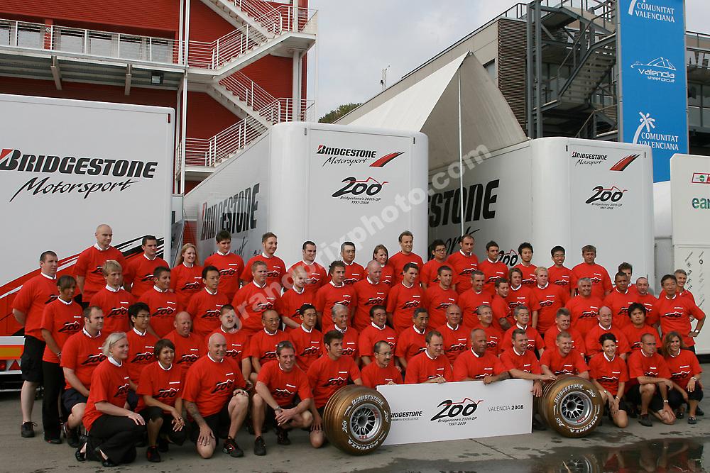 Bridgestone celebrating their 200th Grand Prix  at the 2008 European Grand Prix at Valencia. Photo: Grand Prix Photo