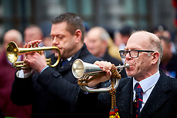 © Licensed to London News Pictures. 03/02/2018. LONDON, UK.  Justice of Northern Ireland Veterans play the Last Post at the Cenotaph during a parade through central London. The organization is campaigning against the prosecutions of army personnel for actions during the Troubles in Northern Ireland.  Photo credit: Cliff Hide/LNP