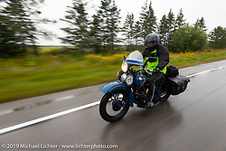 Gary Shorman riding his 1940 Harley-Davidson WL750cc Flathead in the Cross Country Chase motorcycle endurance run from Sault Sainte Marie, MI to Key West, FL. (for vintage bikes from 1930-1948). Stage 1 from Sault Sainte Marie to Ludington, MI USA. Friday, September 6, 2019. Photography ©2019 Michael Lichter.