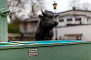 A bull monument symbolizing the name of the part of Oberursel called Stierstadt (Bulltowncity) on the square in front of the volunteer firefighters.