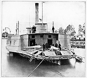 This craft, the Commodore Perry, was an old New York ferryboat purchased and hastily pressed into service by the Federal navy to help solve the problem of patrolling the three thousand miles of coast, along which the blockade must be made effective. from the book ' The Civil war through the camera ' hundreds of vivid photographs actually taken in Civil war times, sixteen reproductions in color of famous war paintings. The new text history by Henry W. Elson. A. complete illustrated history of the Civil war