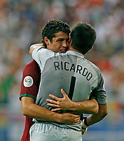 Photo: Glyn Thomas.<br />England v Portugal. Quarter Finals, FIFA World Cup 2006. 01/07/2006.<br /> Portugal's Cristiano Ronaldo (L) celebrates with Ricardo.