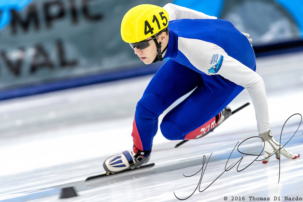 December 17, 2016 - Kearns, UT - Conor McDermott-Mostowy skates during US Speedskating Short Track Junior Nationals and Winter Challenge Short Track Speed Skating competition at the Utah Olympic Oval.