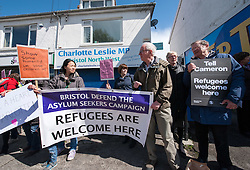 © Licensed to London News Pictures.29/04/2016. Bristol, UK.  Protest by Bristol Defend the Asylum Seekers Campaign outside the constituency office of Charlotte Leslie MP for Bristol North West because of her vote in the House of Commons against the UK taking in 3000 unaccompanied child refugees from the current refugee crisis in the Middle East and the EU. There is another vote next week which the campaigners say gives Leslie a second chance to show some humanity. Photo credit : Simon Chapman/LNP
